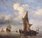 VELDE, Willem van de, the Younger Calm Sea wet oil painting